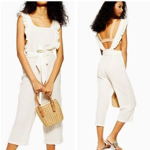 Top shop frill crop ivory belted jumpsuit